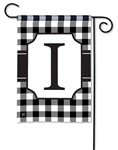 Black & White Check Monogram Garden Flag I