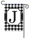 Black & White Check Monogram Garden Flag J