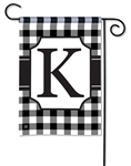 Black & White Check Monogram Garden Flag K