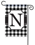 Black & White Check Monogram Garden Flag N