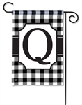 Black & White Check Monogram Garden Flag Q