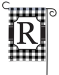 Black & White Check Monogram Garden Flag R
