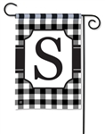 Black & White Check Monogram Garden Flag S