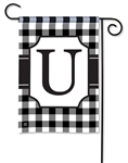Black & White Check Monogram Garden Flag U