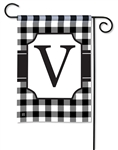 Black & White Check Monogram Garden Flag V