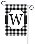 Black & White Check Monogram Garden Flag W