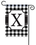 Black & White Check Monogram Garden Flag X