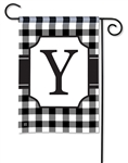 Black & White Check Monogram Garden Flag Y