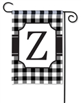 Black & White Check Monogram Garden Flag Z