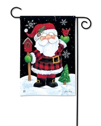 Buffalo Check Santa BreezeArt Garden Flag