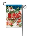 Christmas Farm Wagon BreezeArt Garden Flag