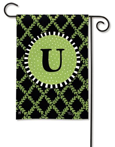 Garden Trellis Monogram U Garden Flag