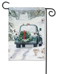Snowy Roads BreezeArt Garden Flag