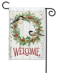 Chickadee Wreath BreezeArt Garden Flag