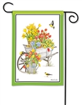 Springtime Wheelbarrow BreezeArt Garden Flag