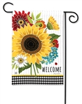 Sunflower Checks BreezeArt Garden Flag