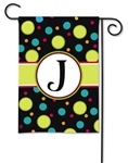 Polka Dot Monogram J BreezeArt Garden Flag