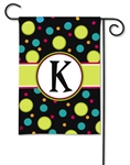 Polka Dot Monogram K BreezeArt Garden Flag