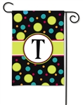 Polka Dot Monogram T BreezeArt Garden Flag