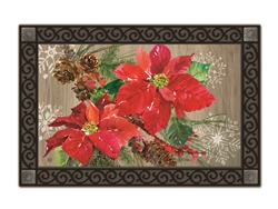 Poinsettia with Pine Cones  MatMates Decorative Doormat