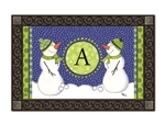 Winter Frolic Monogram A MatMates Doormat