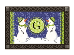 Winter Frolic Monogram G MatMates Doormat