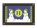 Winter Frolic Monogram H MatMates Doormat