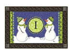 Winter Frolic Monogram I MatMates Doormat