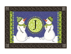 Winter Frolic Monogram J MatMates Doormat