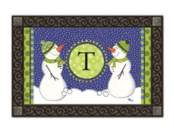 Winter Frolic Monogram T MatMates Doormat