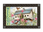 Spring Birdhouse with Clematis MatMates Decorative Doormat