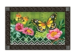 Butterflies with Pink Flowers MatMates Decorative Doormat