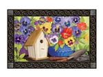 Pretty Pansy and Birdhouse MatMates Decorative Doormat