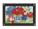 Patriotic Floral MatMates Decorative Doormat