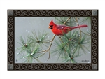 Winter Red Bird MatMates Decorative Doormat