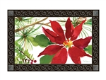 Pretty Poinsettia MatMates Decorative Doormat