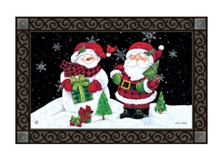 Buffalo Check Santa MatMates Decorative Doormat