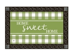 Green and White MatMates Decorative Doormat