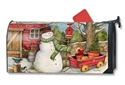 Red Barn Snowman Large MailWraps Magnetic Mailbox Cover