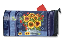 Denim Sunflower Large Mailbox Cover