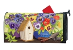 Pretty Pansy and Birdhouse Large MailWraps Magnetic Mailbox Cover