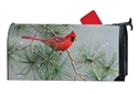 Winter Red Bird Large MailWraps Magnetic Mailbox Cover