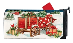 Christmas Farm Wagon Large MailWraps Magnetic Mailbox Cover