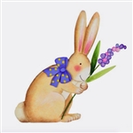 Pastel Rabbit with Bow and Purple Flower Art