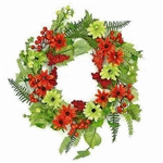 Zinnia and Berries Wreath