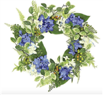 Hydrangea & Berry Wreath in Blue/Cream