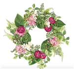 Hydrangea, Rose & Berry Wreath in Pink