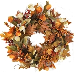 Fall Leaves & Berries Wreath 24""