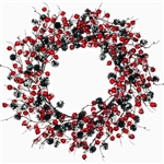 Red Berries & Pine Cones with Snow Wreath