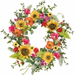 Sunflower, Cosmos, Poppies & Wildflowers Wreath